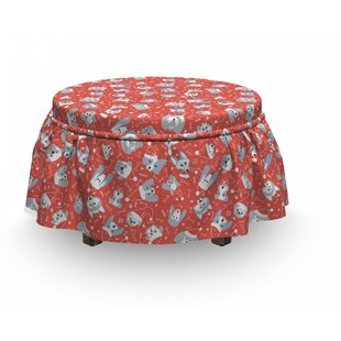 Dogs In Santa Claus Hats Xmas Ottoman Slipcover (Set Of 2) By East Urban Home