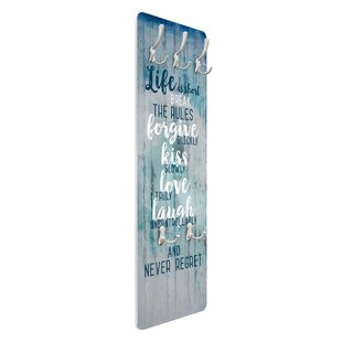 Discount Life Is Short - Break The Rules Wall Mounted Coat Rack