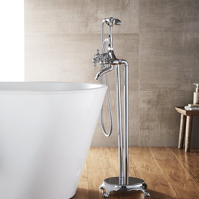 Candra Double Handle Floor Mount Clawfoot Tub Faucet Trim With Hand Shower