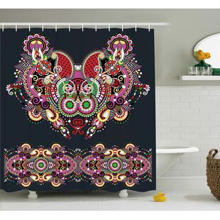 Arsdale Ornate Paisley Features Shower Curtain Hooks