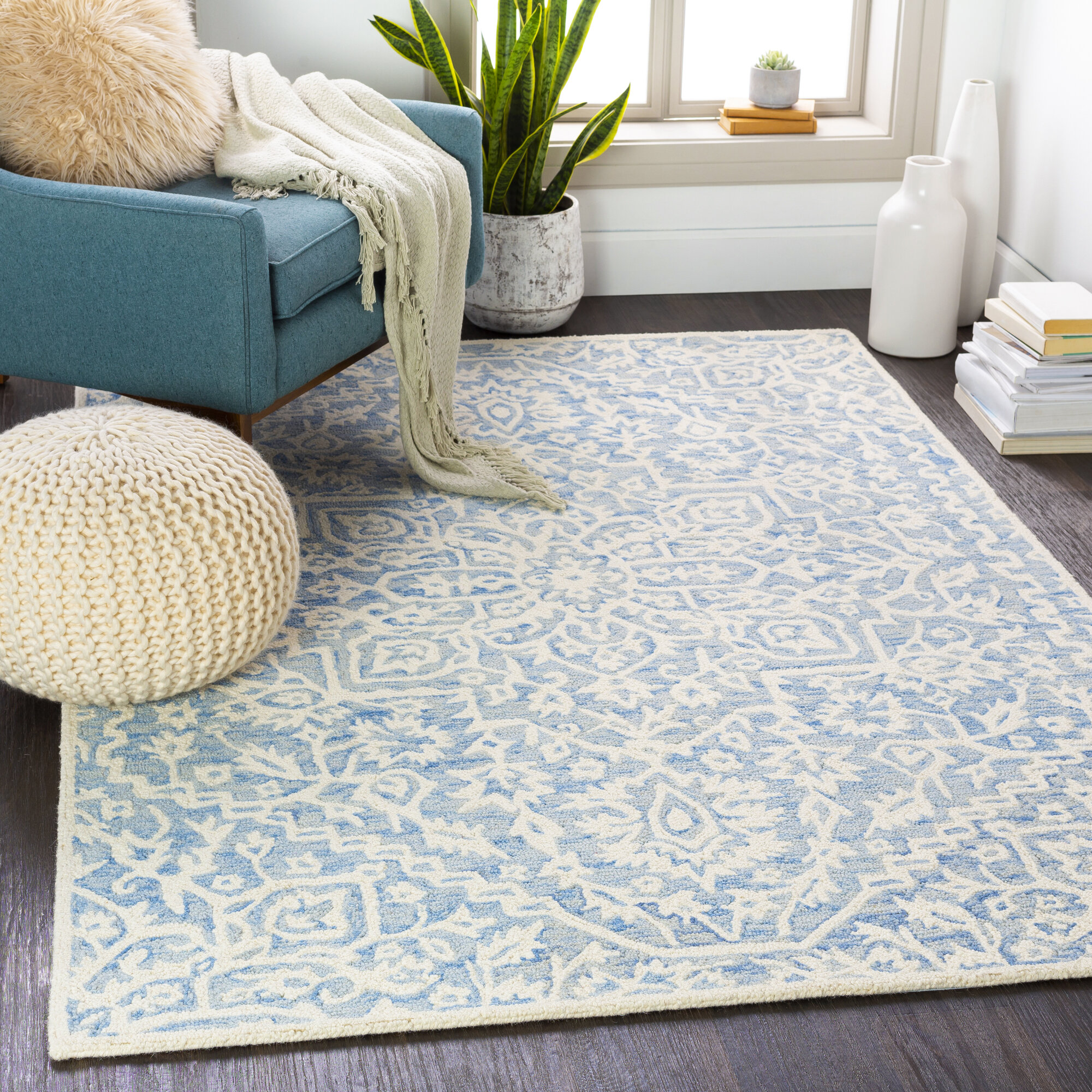 Ophelia Co Beaverton Oriental Handmade Tufted Wool Navy Area Rug Reviews Wayfair Ca