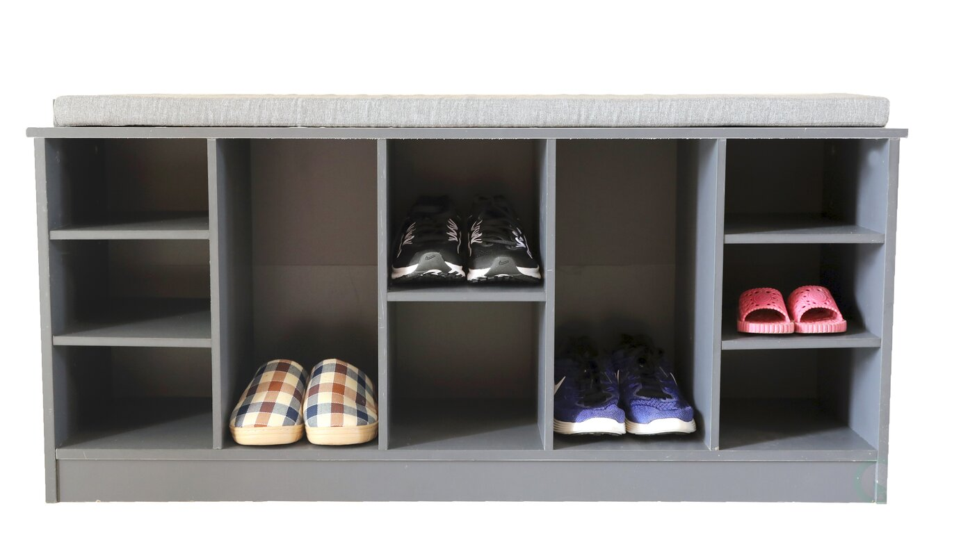 10 Pair Shoe Storage Bench with Soft Cushion