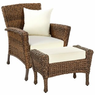 Rutter Garden Patio Chair with Cushions and Ottoman
