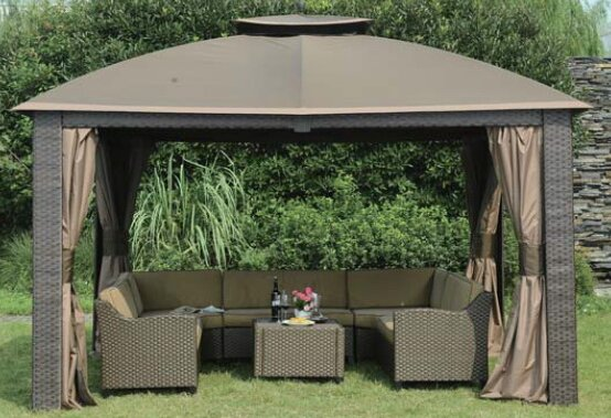 Sunjoy Replacement Canopy for 10' W x 12' D Riviera Resin Gazebo | Wayfair - Sunjoy Replacement Canopy For 10' W X 12' D Riviera Resin Gazebo