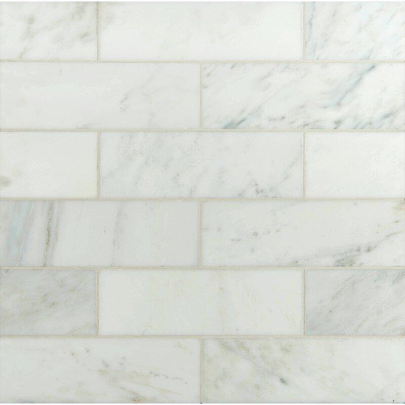 Msi 4 X 12 Polished Marble Tile In Carrara White Reviews Wayfair