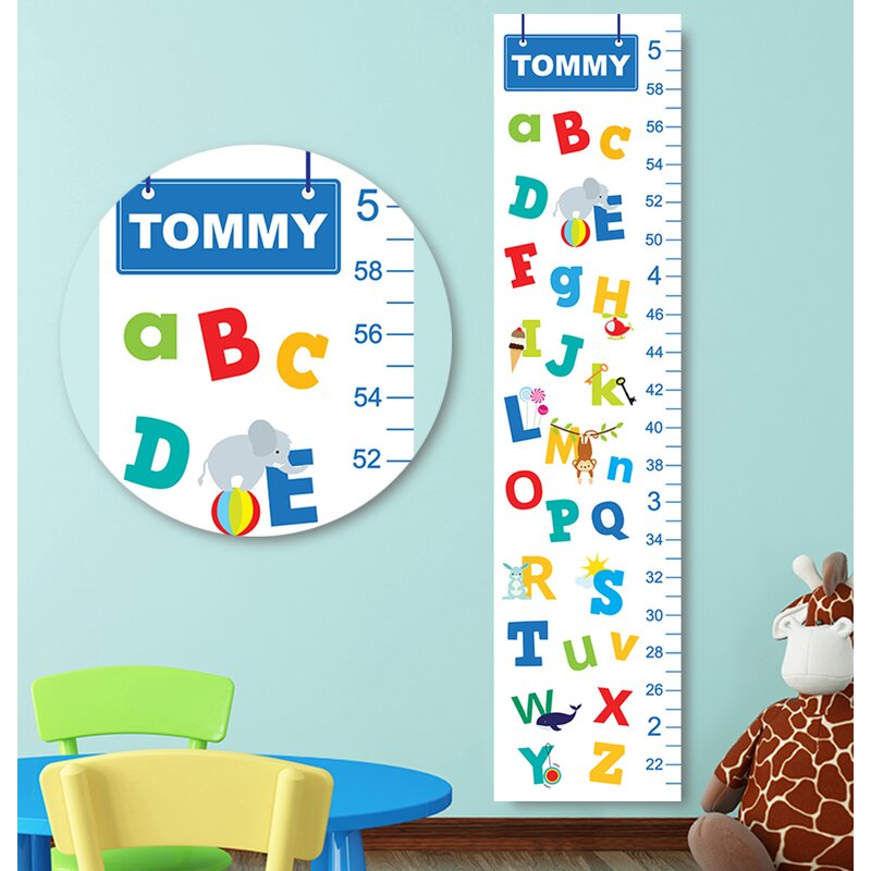 Personalized Kids Gift Alphabet Canvas Decal Growth Chart