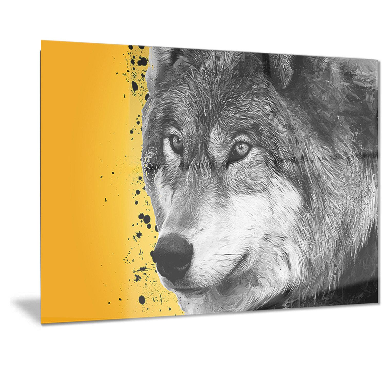DesignArt Metal \'Gazing Wolf\' Graphic Art | Wayfair