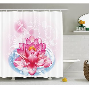 Deanna Mandala Decor Indian Yoga Theme Lotus Flower With Abstract Mantis and Dots Photo Single Shower Curtain