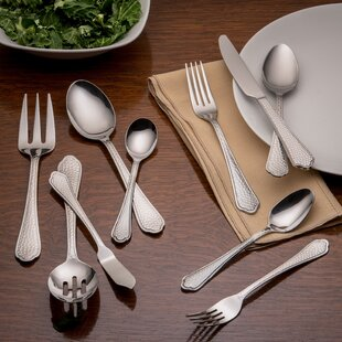 Pepper Hammered 45 Piece 18/0 Stainless Steel Flatware Set, Service for 8