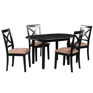 Forsyth 5 Piece Extendable Solid Wood Dining Set by Alcott Hill No Copoun