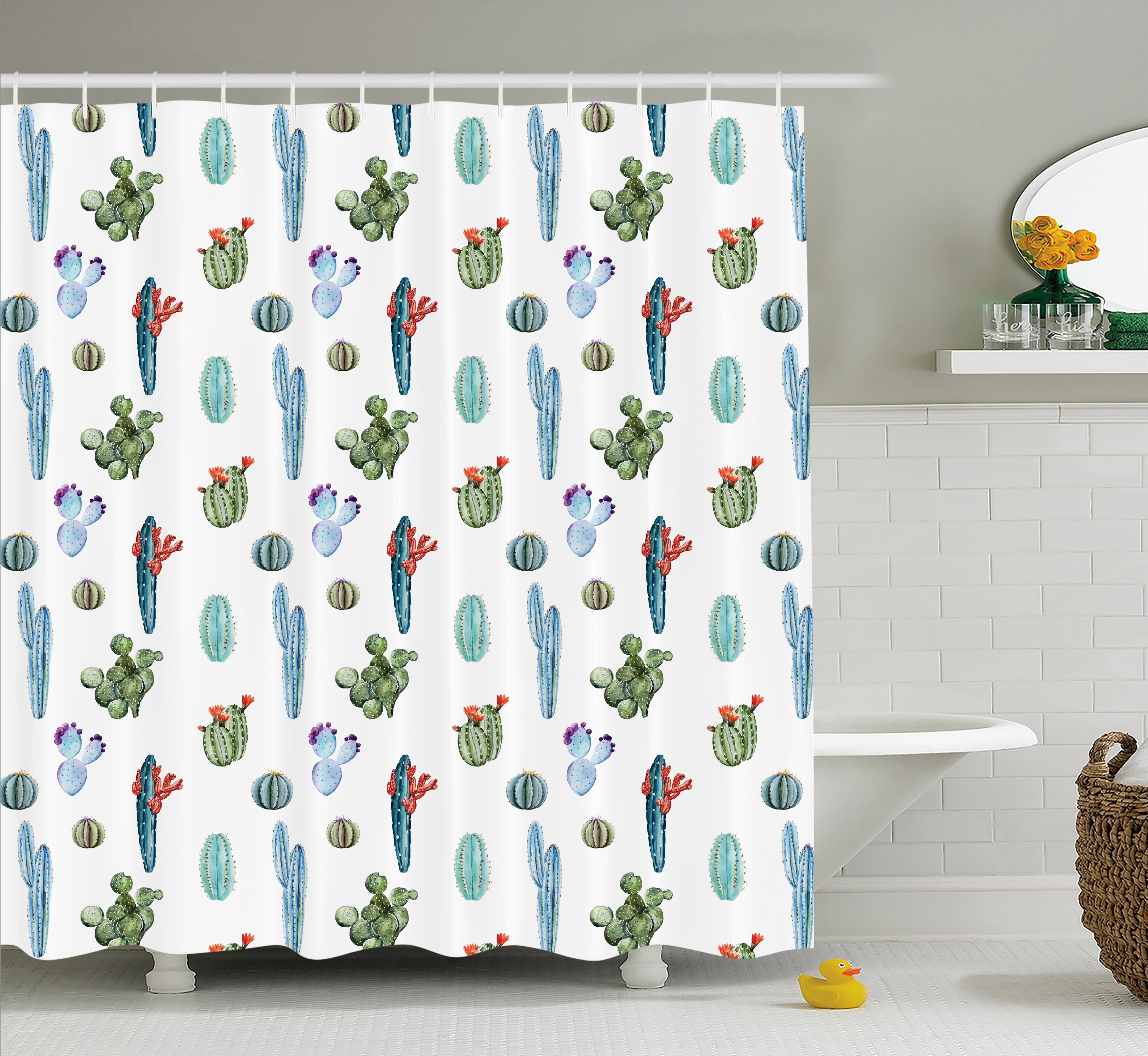 ebern designs zendaya watercolor cactus plant image desert hot mexican souh nature floral print single shower curtain wayfair