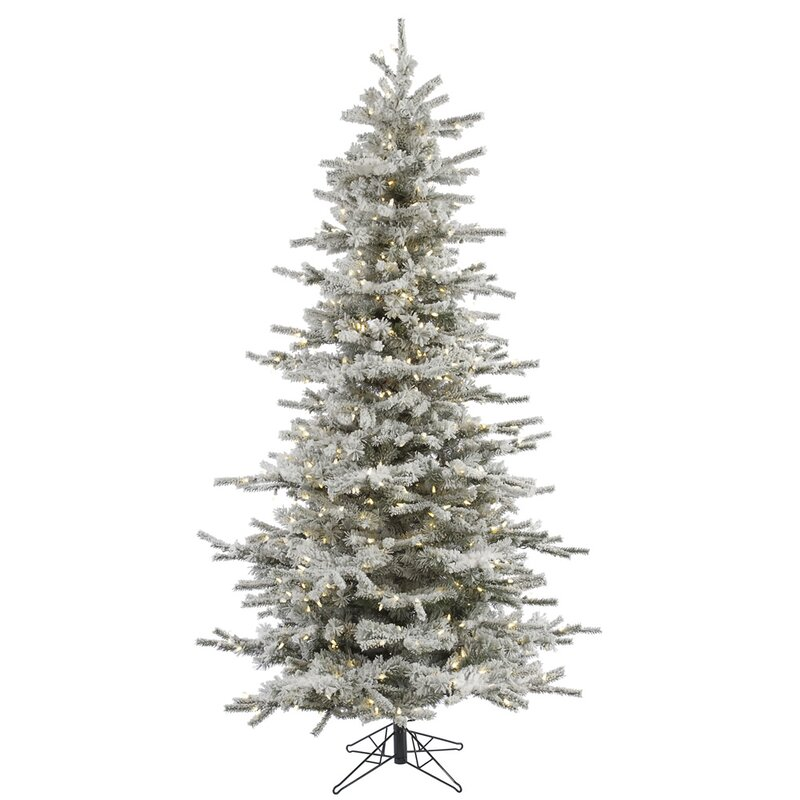 The Holiday Aisle Flocked Slim Sierra 10\' White Fir Trees Artificial ...