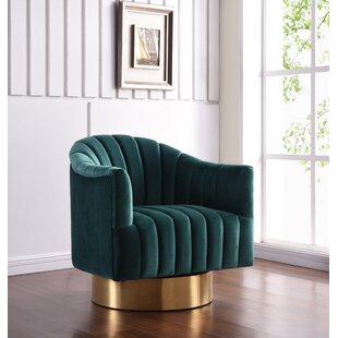 Bekah Swivel Barrel Chair by Everly Quinn