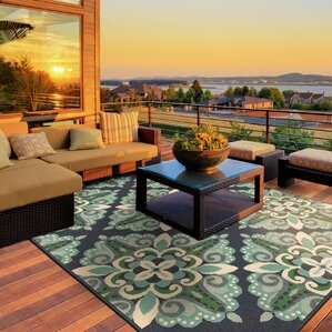 Nice Kailani Contemporary Blue/Green Indoor/Outdoor Area Rug
