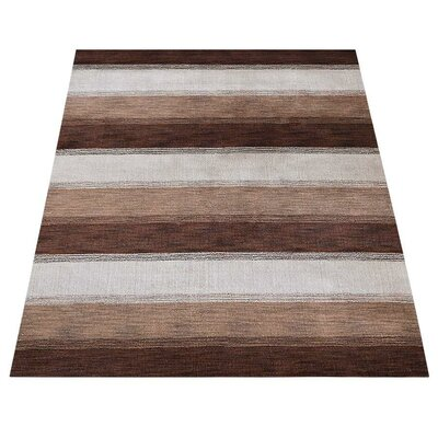 Rosalina Loom Hand Knotted Wool Brownbeige Area Rug World