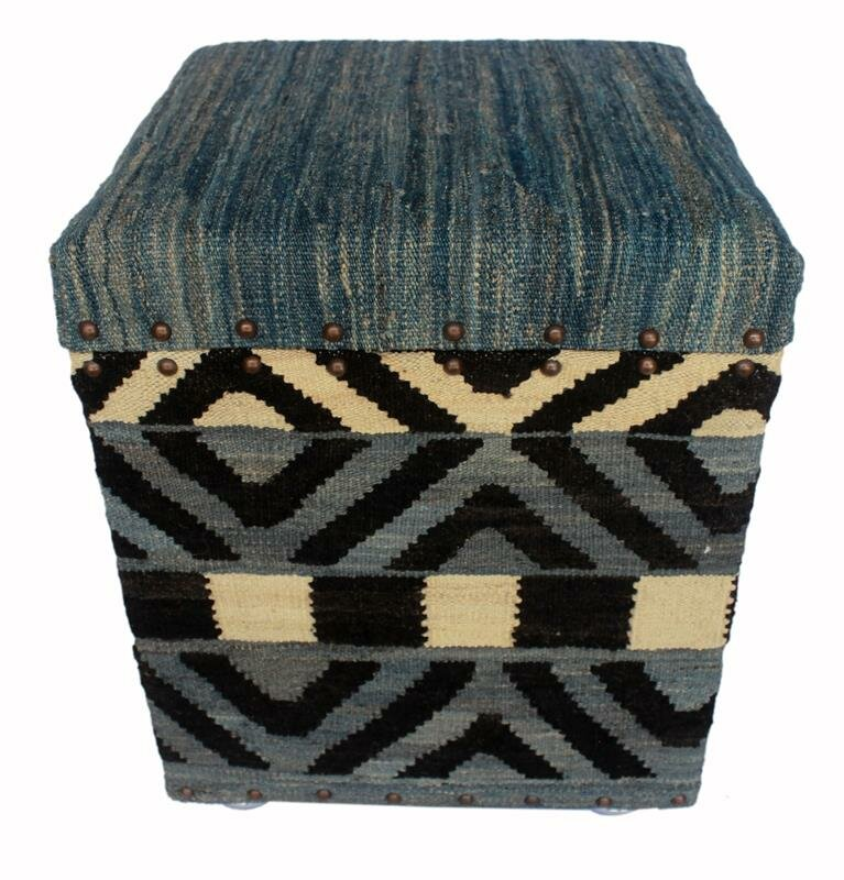 Handmade Moroccan Exquisite Kilim Rug Pouf Storage Ottoman Floor Pillow