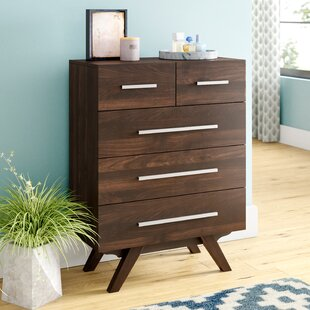 Crayton Mid Century Wood 5 Drawer Chest by Turn on the Brights