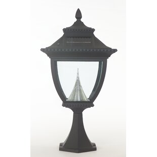 Pagoda Solar Light Fixture on Flat 8-Light LED Pier Mount Light By Gama Sonic Outdoor Lighting