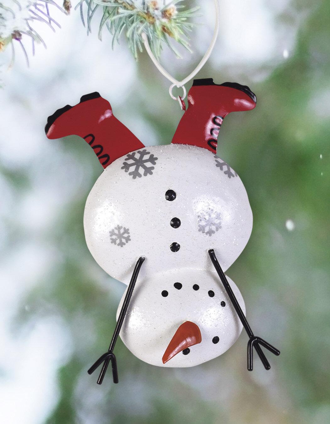 The Holiday Aisle Set Of 2 Upside Down Snowman Hanging Figurine Ornament Wayfair