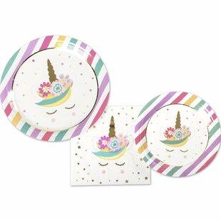 3 Piece Unicorn Paper Disposable Plates and Napkins