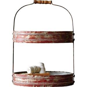 Decorative Tin Oval 2 Tier Tray