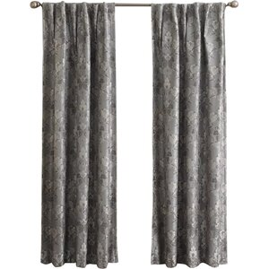 Mayfield Damask Max Blackout Thermal Rod Pocket Single Curtain Panel
