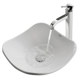 Kraus Ceramic Ceramic Specialty Vessel Bathroom Sink with Faucet