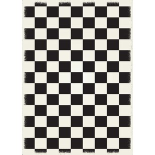 Biton English Checker Black/White Indoor/Outdoor Area Rug By Winston Porter
