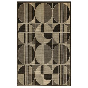 Corr Circles Ivory/Black Indoor/Outdoor Area Rug