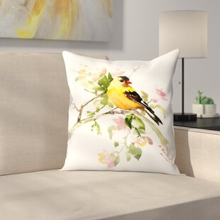Suren Nersisyan American finch Songbird Throw Pillow