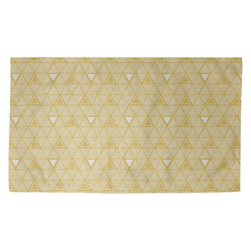 Classic Hand Drawn Triangles Green Area Rug