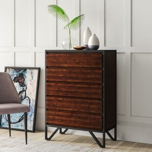 Lund Stacked Wood 5 Drawer Chest by Mercury Row