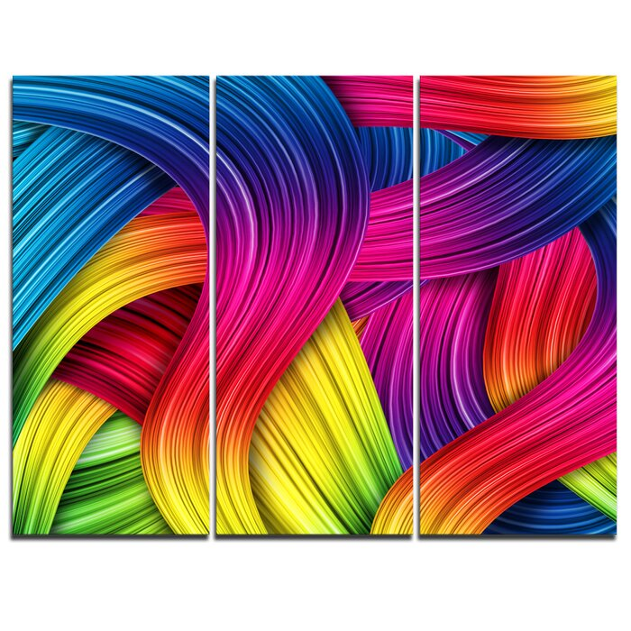 3d Rainbow Art 3 Piece Graphic Art On Wrapped Canvas Set