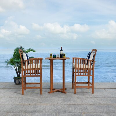 Eastford 3 Piece Bistro Set With Cushions by Gracie Oaks Sale