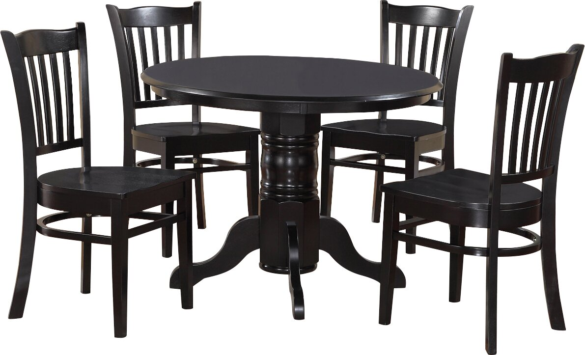 Beachcrest Home Langwater 5 - Piece Rubberwood Solid Wood Dining Set