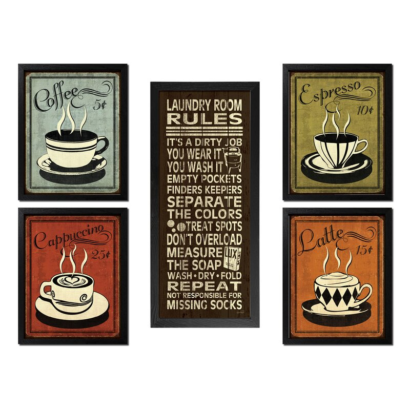 Red Barrel Studio Classic Retro Coffee Espresso Cappuccino Latte And This House Runs On Love Laughter And A Whole Lot Of Coffee Framed Graphic Art Print Set Wayfair