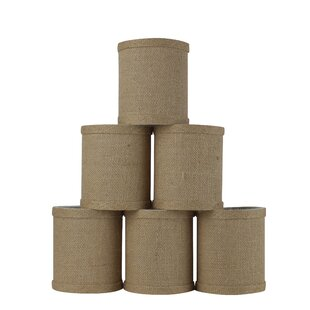 4 Natural Burlap Drum Candelabra Shade (Set of 6)