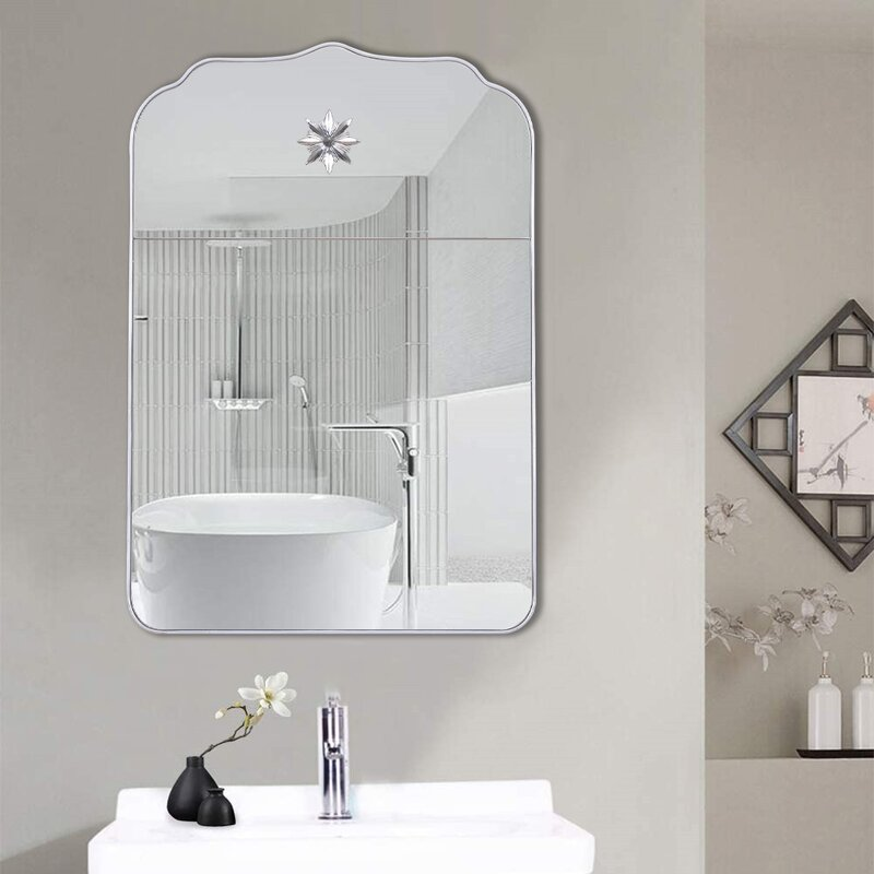 Rosdorf Park 32 Inch Large Wall Mirror Clear Wall Mounted Decorative Mirror With Laser Engraving And Printing For Entryways Bathroom Living Rooms Hallwayand Wayfair Ca