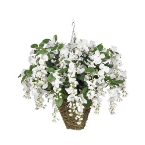 Artificial Wisteria Hanging Plant in Square Basket