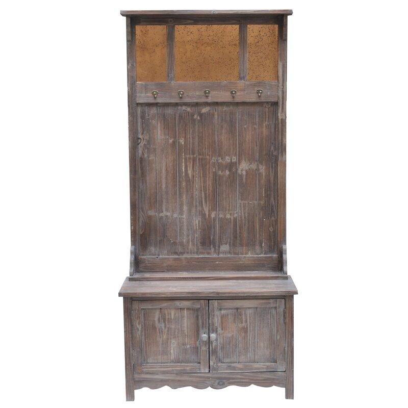 ... Rustic 2 Door Antique Mirror Hall Tree ...