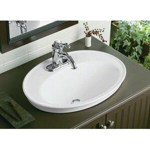 Serif Ceramic Oval Drop-In Bathroom Sink with Overflow