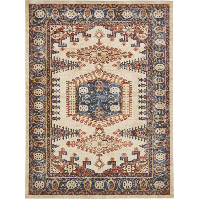 Astoria Grand Nathanson Oriental Cream Red Blue Area Rug