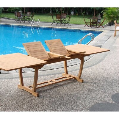 Omarion Extendable Teak Dining Table by Rosecliff Heights Best #1