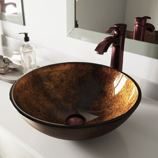 Great Price Russet Glass Circular Vessel Bathroom Sink with Faucet By VIGO