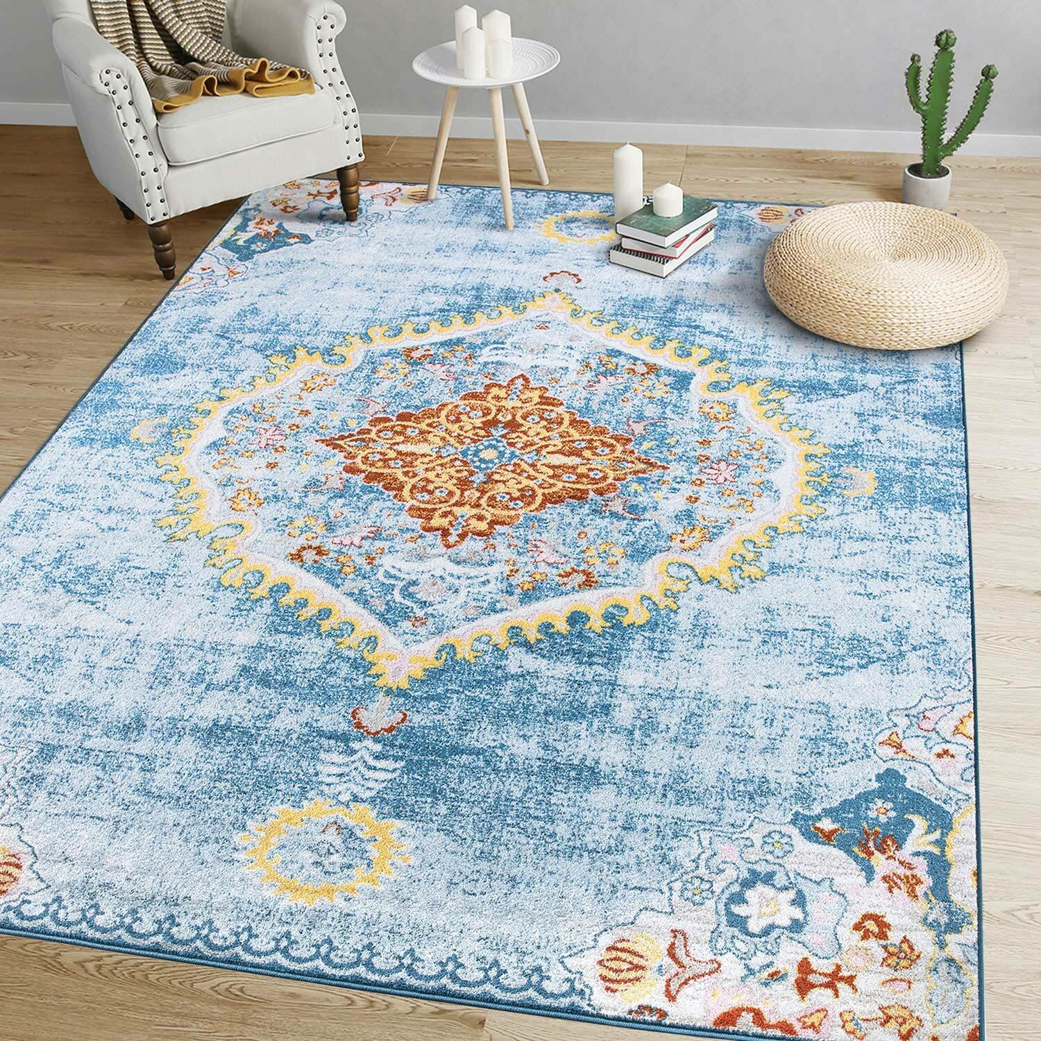 Picture of: Bungalow Rose Stansbury Oriental Light Blue Yellow Area Rug