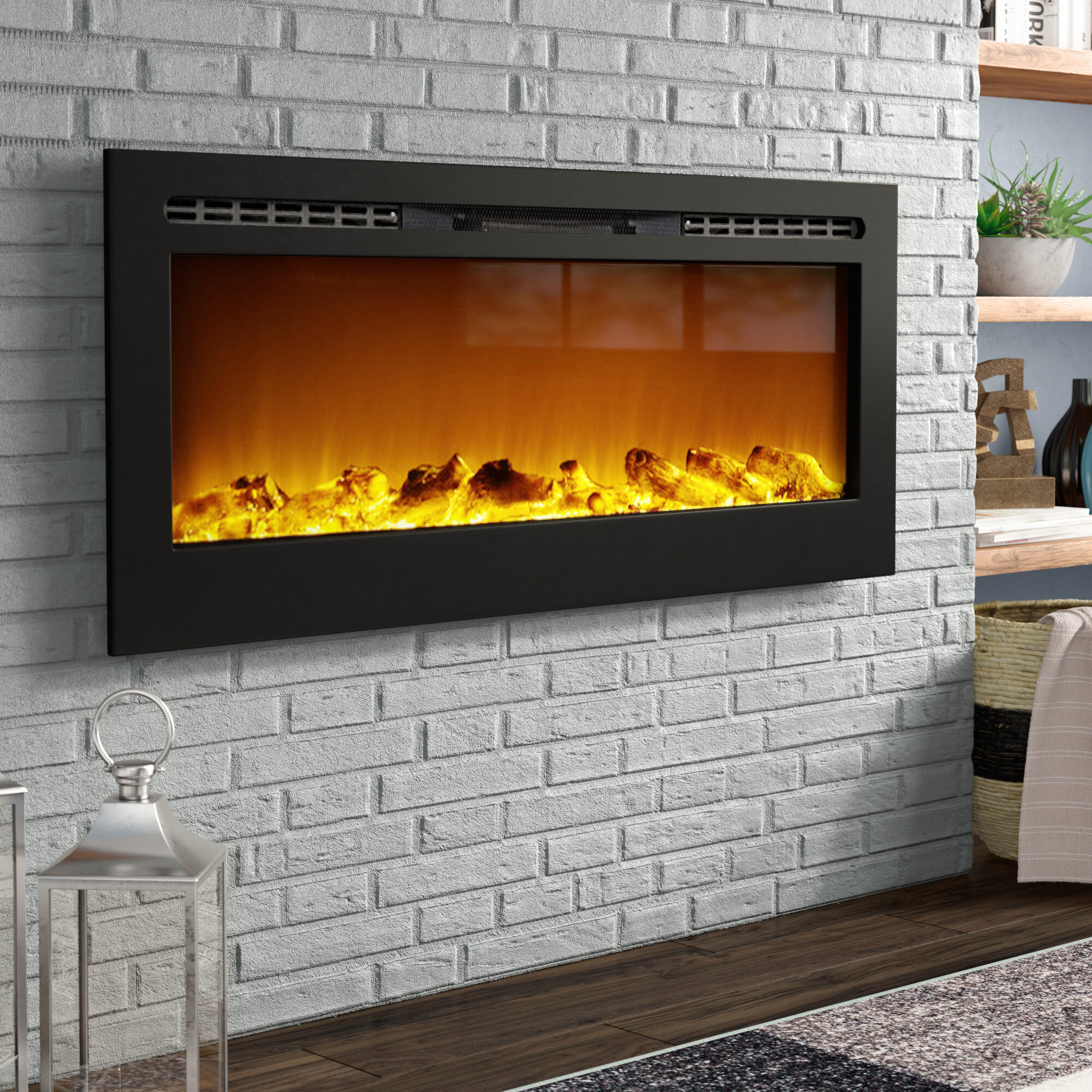 Wade Logan Bettie Wall Mounted Electric Fireplace Reviews Wayfair