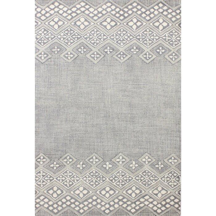 Kolya Hand Tufted Wool Gray White Area Rug