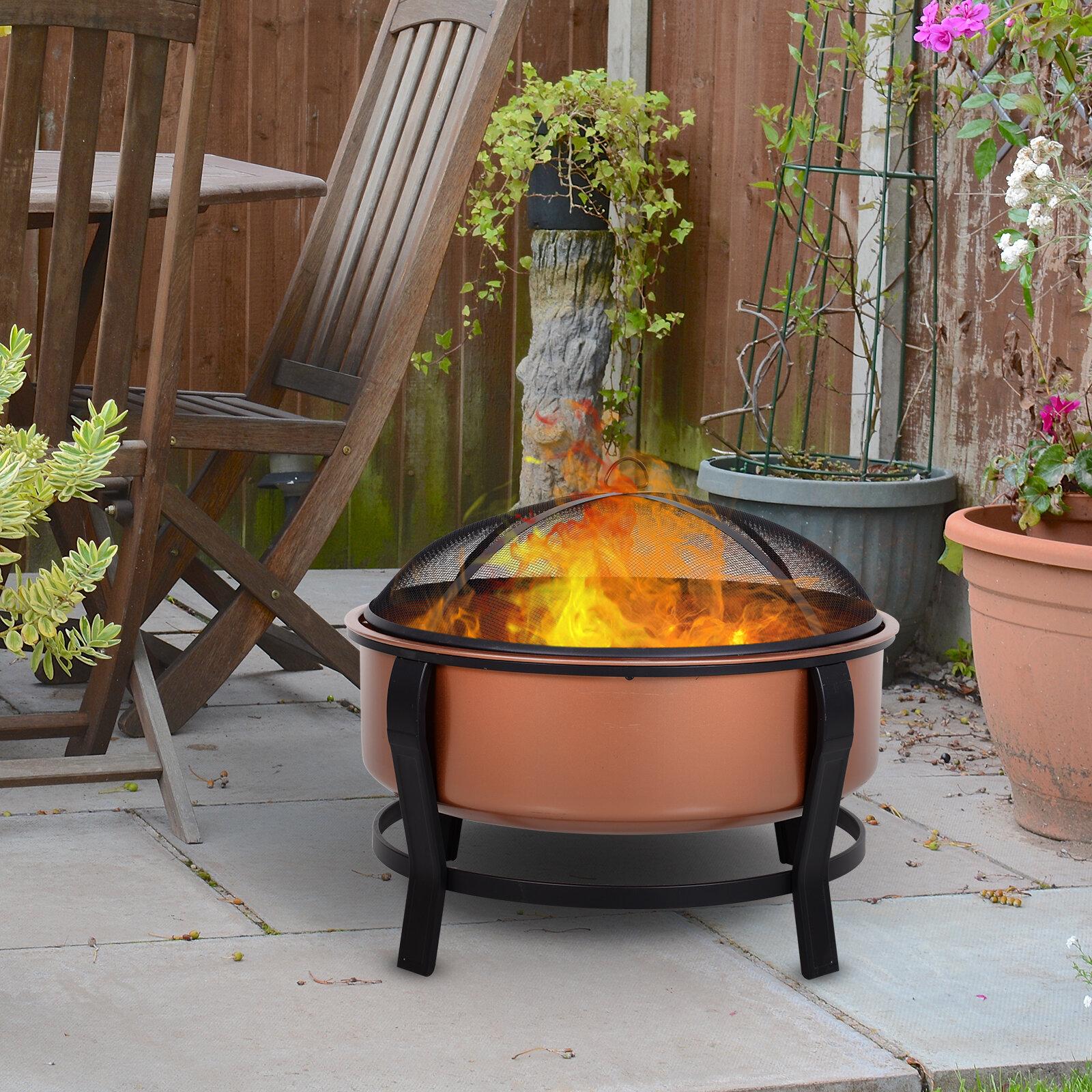 Red Barrel Studio Nerina Steel Wood Burning Fire Pit Reviews Wayfair