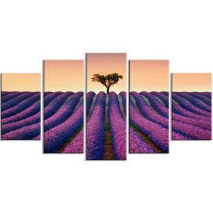 Lavender And Lonely Tree Uphill 5 Piece Wall Art On Wrapped Canvas Set