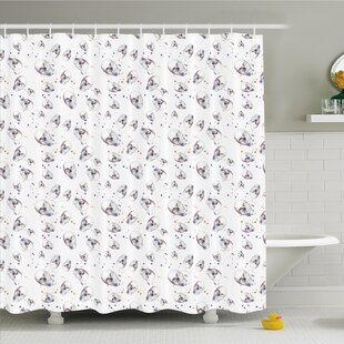 Skull with Spot Color Splashes on the Base All Souls Day Vigil Image Shower Curtain Set